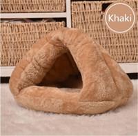 дом собаки оптовых-Pet Cat Igloo Кровать Маленькая Собака Мягкая Кровать Гнездования Встретил Дом Покрыты S M
