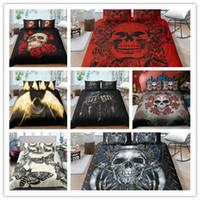 o quarto de cama 3d define o tamanho king completo venda por atacado-Jogo da Cama do Crânio 3d Impressão Capa de Edredão Set Com Fronha 2/3 Pcs EUA Gêmeo Completa Rainha king size