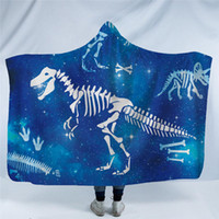 Wholesale cartoon coral fleece bedding resale online - New Dinosaur Throw Blanket Thick Winter Warm Soft Fluffy Hooded Blanket Family Cartoon Comfortable for boys on bed Sofa