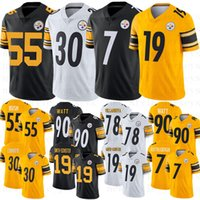 camisas de ben venda por atacado-2019 Nova Pittsburgh 7 Ben Roethlisberger Steelers 90 T.J. Watt 55 Devin Bush 19 JuJu Smith-Schuster 30 James Conner Camisas De Futebol