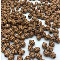 ingrosso fai braccialetti fatti a mano perline-7 * 8mm 100 pz / lotto a buon mercato caldo acrilico perline imitazione perline di legno forma rotonda adatto per mano fai da te collana braccialetto monili che fanno