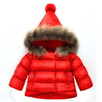 Wholesale baby duck hat for sale - Group buy Baby girl clothes winter down jacket baby girl pointed hat real fur collar down jacket warm hooded
