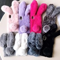 Wholesale furry toys for sale - Rabbit Fur Case For iPhone Plus X Colors Furry Soft TPU Phone Cover Lovely Bunny Phone Cases Plush Cover OOA6030