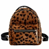 mochilas infantiles estampado leopardo al por mayor-LEFTSIDE Estampado de leopardo Mochilas pequeñas para mujeres 2018 Mini Mochila Moda para niños Mochila de viaje Bolsa de viaje de felpa Bolsas de invierno # 205815