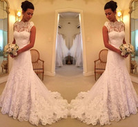 2f01bb0f484 2019 Beautiful lace Sleeveless Mermaid Wedding Dress Sweep Floor On Sale  High Neck Sweep Train Scalloped Tiered Skirts Wedding Gowns
