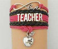Wholesale infinity bracelets online - Leather Rope Weaving Teacher Apple Love multilayer Wording Leather Braided Infinity Love Teacher Bracelet