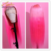 Wholesale light pink human hair wigs for sale - Group buy AIVA Full Lace Human Hair Pink Ombre Rose Red Wigs with Baby Hair Silky StraightTransparent Colorful Full Remy Glueless Wigs