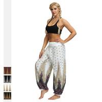 ioga mulheres indianas venda por atacado-Perna Larga Boho Yoga Harem Pants das Mulheres Esporte Confortável Indiana Tailândia Boêmio Calças Palazzo