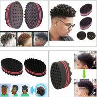 Wholesale hair braiding sponge resale online - Double Sided wave shaped Sponge Brushes Multi holes Side Braid Twist Hair Curl Wave Hair Sponge Brush Styling Tools