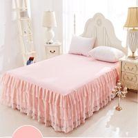 ropa de cama de encaje reina princesa rosa al por mayor-Princess Lace Cake Layers Pink Beige Purple falda de cama Full / Queen / King Size Bedspread Home Decorativo Envío Gratis