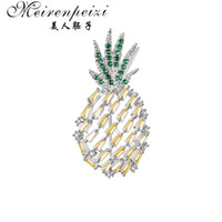 Wholesale pineapple brooches for sale - Group buy Meirenpeizi Austria Rhinestone Inlay Enamel Pineapple Brooches For Women Cute Fruit Brooch Pin Dresses Coat Corsage Broches Gift