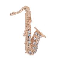 französische musikinstrumente großhandel-Hohe Qualität Musikinstrumente Saxophon Französisch Horn Posaune Brosche Gold Splitter Farbe Legierung Mode Brosche Für Kinder