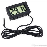 frigoríficos negros al por mayor-Mini LCD Digital Termómetro Sensor de temperatura Frigorífico congelador Termómetros -50 ~ 110C Controlador GT negro FY-10 Temperaturas 100 piezas