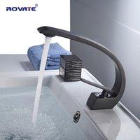 torneira de vaso preto venda por atacado-ROVATE torneira Bacia Latão Preto Vessel Sink Mixer Tap água quente e fria Torneiras de casa de banho
