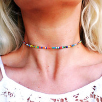 steinsüßigkeit großhandel-Multi Color Perlen Kette Choker Candy Regenbogen Sun Moon Star Naturstein Glas Halsketten Bohemian Beach Holiday Schmuck Geschenk DHL