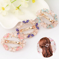 Wholesale flower hair clips brooch resale online - New Crystal Rhinestone Hair Clips for Women Girls Flower Butterfly Barrettes Clamp Hairpins Brooch Hair Styling Tools