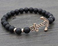 pulseiras de ouro buda venda por atacado-8mm xtg535 prata ouro cobre Âncora micro pavimentar cz zircon zircônia cúbica pulseira de couro preto fosco bead buddha yoga pulseiras