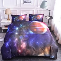 ingrosso biancheria da letto a tema-Boniu Universe Outer Space Themed Bed Set 3D Galaxy Star Moon copripiumino 2/3 pezzi queen full size federa