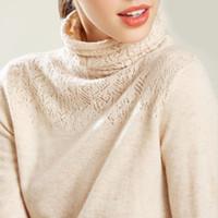 flauschiger pullover pullover großhandel-Frauen Pullover Frauen Pullover weicher Kaschmir Hohle Turtleneck Pullover und Pullover für Frauen Warm Fluffy Winter-Jumper Female Jumper
