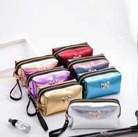 Wholesale travel online - PU Leather Cosmetic Bag Reflective Waterproof Makeup Bags Knotbow Handbag Cosmetic Bag Pouch Travel Toiletry Bags Wallet GGA2052