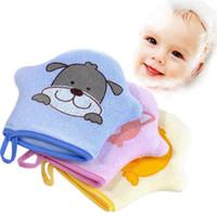 toalla de bebé esponja al por mayor-3 Colores Bebé de Dibujos Animados Súper Suave Algodón Baño Ducha Cepillo Rub Animal Modelado Toalla Bola Esponja Polvo Lindo para Bebés y Niños