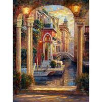 manzara yağlı boya güzel toptan satış-El boyalı güzel yağlıboya Rio di San Polo, Venedik manzara oturma odası için sanat