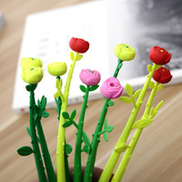 novidade da pena de flor venda por atacado-1 PC Nova Novidade Plástico Rosas Flor Grama Gel Pen Ball Pen Papelaria Esferográfica Escritório Escola Suprimentos Caneta