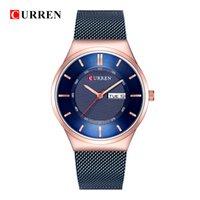 relogios masculinos finos venda por atacado-Curren 8311 Relógios de Quartzo Relógios Homens Azul de Aço Inoxidável Resistência À Água Ultra Fino Relógios Homens Relógio Masculino Simples