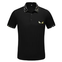 short sleeve polo shirt оптовых-Mens Designer  Shirts Monster Print Collar T Shirt 2 Colors Fashion Embroidery Short Sleeve s Free Shipping