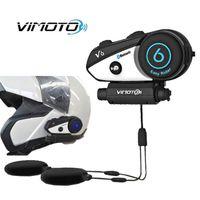 manzana a través al por mayor-Nueva versión en inglés de Vimoto Easy Rider V6 Multifuncional Radio de 2 vías BT Interphone Casco de motocicleta Auricular con intercomunicador Bluetooth