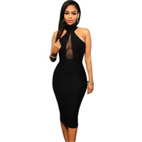 Wholesale best women dress night for sale - Group buy Women Best Selling Explosions Women s European And American Foreign Trade Beautiful Sleeveless Hanging Neck Mesh Stitching Sexy Black Dress