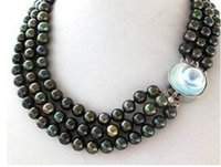 3Strands 18/'/' Round Turquoise /&10mm Gray Freshwater Pearl Necklace