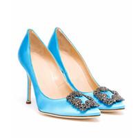 Wholesale navy blue wedding pumps resale online - MB Designer Ladies Wedding Shoes Elegant Diamond Pointed Toe cm High Heel Pumps Slip On Tacones Mujer Square Crystal Buckle Silk Heels