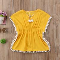 traje amarillo para niño al por mayor-Vestido de baño con borla de playa para niña niño Camisa Dolman Kids Baby Lovely Summer Traje de baño de manga corta amarillo 25yc C1