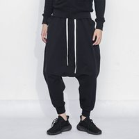 pantalones de chándal holgados negros de hip hop al por mayor-Black Hip Hop Jogger Pants Men 2019 New Streetwear Baggy Hombre Pantalones de chándal de algodón Casual Harem Pants Men