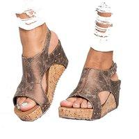sandales gladiateur taille plus femme achat en gros de-Les nouvelles chaussures compensées d'été de Sandales Sandales à imprimé léopard pour les femmes, sandales grande taille