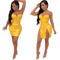 ingrosso vestito di pelle giallo faux-