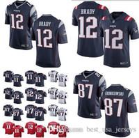 batas de niño al por mayor-Hombres mujeres niños New Patriots 12 Tom Brady 87 Rob Gronkowski Jersey Hombres # 11 Jerseys Julian Edelman Patriots