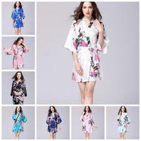kadın giyim japanese kimono toptan satış-12 Renkler Seksi kadın Japon Ipek Kimono Bornoz Pijama Gecelik Pijama Kırık Çiçek Kimono Iç Çamaşırı Ev Giyim CCA10956 12 adet