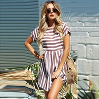 mini pembe plaj elbisesi toptan satış-Kadın Yaz Plaj Elbise 2019 A-Line Çizgili Kısa Kollu O-Boyun Baskı Elbiseler Rahat Pembe Mavi Mini Stil Elbise Seksi Sundress