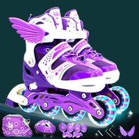 Wholesale kids wheel shoes resale online - Children Kids Inline Skate Roller Skating Shoes With Helmet Knee Protector Gear Bag Adjustable Flashing Wheels Patines A Set