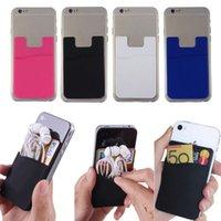 iphone akıllı cep telefonu toptan satış-Dayanıklı Silikon Telefon Tutucu Kılıf Kredi Kartı Nakit Kılıfı Yapıştırıcı Arka Kapak Evrensel Akıllı Cep Telefonu Için Yapıştırıcı Sticker