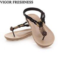 boncuk sandaletleri toptan satış-VIGOR FRESHNESS Sandalet Kadın Ayakkabı Yaz Düz Topuklu Ayakkabı kadının Sandalet Retro Flats Bohemia Plaj Dize Boncuk WY236