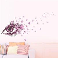 duvar çıkartması kanepe toptan satış-Büyüleyici Peri Kız Göz Duvar Sticker Çocuk Odaları Için Çiçek kelebek AŞK kalp Duvar Çıkartması Yatak Odası Kanepe Dekorasyon Duvar Sanatı