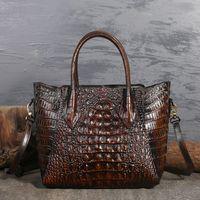 Wholesale crocodile oil resale online - Top Quality Genuine Leather Messenger Shoulder Top Handle Bags Crocodile Pattern Women Oil Wax Cowhide Cross Body Tote Handbag