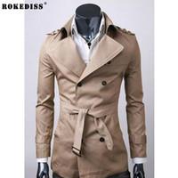 пружинные плащи оптовых-ROKEDISS тренч пальто мужчины осень весна двубортный мужчины верхняя одежда повседневная пальто Мужские куртки ветровка мужская тренч Z122