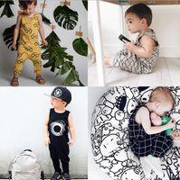 chaleco bebé 18 24 al por mayor-Mameluco del bebé INS 2019 algodón sin mangas chaleco largo de una pieza mono de los niños onesies Bebé Infant Boy Diseñador Ropa niños traje casual