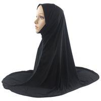 hijab de moda islámica al por mayor-Bufanda islámica musulmán Hijab Una pieza Mujer Amira Moda Color sólido Material suave y elástico