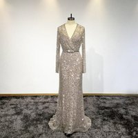 Wholesale sexy bling formal dresses resale online - Sparkly Vintage Long Sleeves Sequined Mermaid Evening Dress Bling Sheath V Neck Evening Gown Long Beaded Formal Party Pageant Dresses