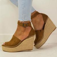 ingrosso pompe per tela per donne-Primavera donna sandali casual lino tela zeppa piattaforma fibbia cinturino alla caviglia con tacco alto piattaforma espadrillas scarpe da donna